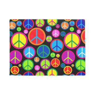 Cool Colorful Groovy Peace Symbols Doormat