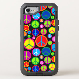 Cool Colorful Groovy Peace Symbols OtterBox Defender iPhone 7 Case