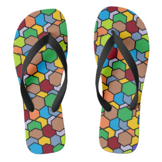 Cool Colorful Hexagon Pattern Flip Flops