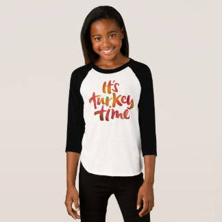 Cool Colorful Its Turkey Time Thanksgiving Dinner T-Shirt