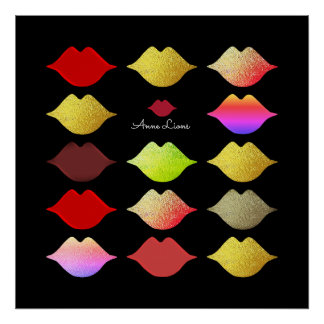 cool colorful lips / different color mouths poster