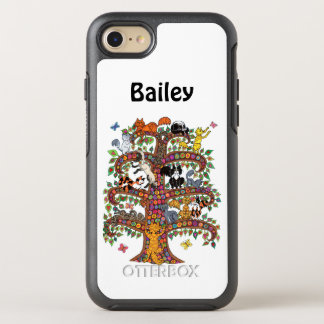 Cool Colorful Millefiori Tree Cats Monogram Name OtterBox Symmetry iPhone 8/7 Case