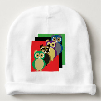 Cool Colorful Owls Baby Beanie