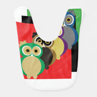 Cool Colorful Owls Baby Bib