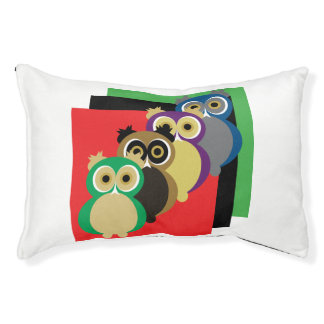 Cool Colorful Owls Small Dog Bed