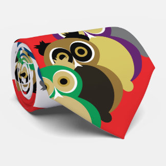 Cool Colorful Owls Tie