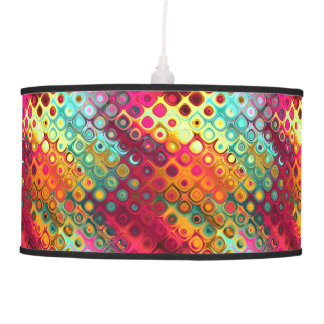 Cool Colorful red, Rainbow of Liquid Dots pattern. Pendant Lamp