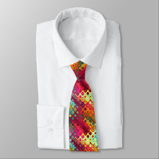 Cool Colorful red, Rainbow of Liquid Dots pattern Tie