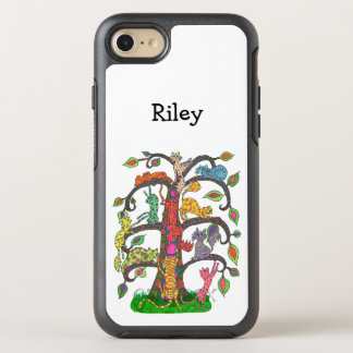 Cool Colorful Tree Cats Drawing Monogram Name OtterBox Symmetry iPhone 8/7 Case