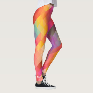 Cool Colorful Trendy Geometric Triangles Monogram Leggings