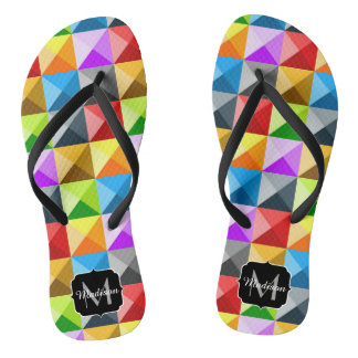 Cool Colorful triangles geometric pattern Monogram Flip Flops