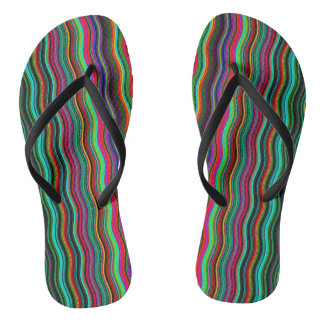 Cool Colorful Wavy Stripe Pattern Flip Flops