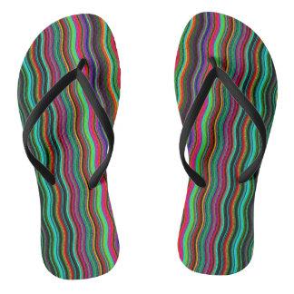 Cool Colorful Wavy Stripe Pattern Flip Flops