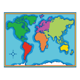 Cool Colorful World Map Postcard