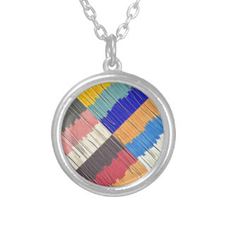 Cool Colors Collage Silver Plated Necklace