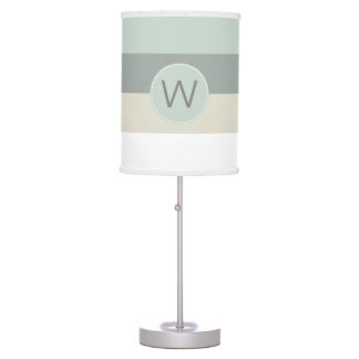 Cool Colors Minimalist Look Stripes and Monogram Table Lamp