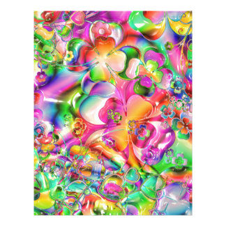 cool colourful bright flowers hearts background custom letterhead