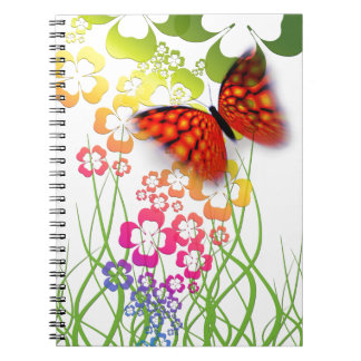 cool colourful butterfly and  clovers notebook