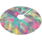 Cool colourful geometric triangles pattern brushed polyester tree skirt