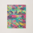 Cool colourful geometric triangles pattern jigsaw puzzle
