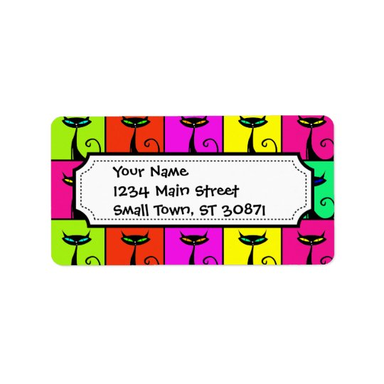Cool Colourful Kitty Cat Pop Art Squares Label