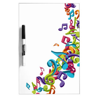 cool colourful music notes & sounds art image dry erase white board