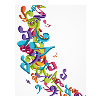 cool colourful music notes sounds art image letterhead template