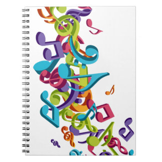cool colourful music notes sounds art image notebook