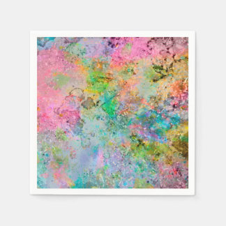 Cool colourful neon colours abstract marble image paper napkins