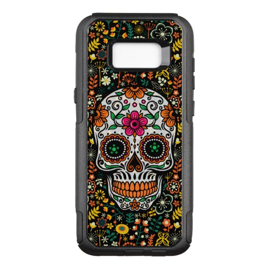 Cool Colourful Retro Flowers Sugar Skull OtterBox Commuter Samsung Galaxy S8+ Case
