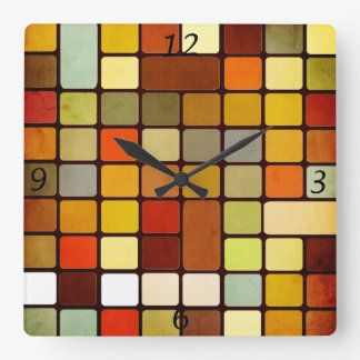 Cool colourful squares and rectangles round corner wallclock