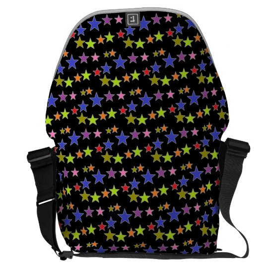 Cool Colourful Star Pattern Design on Black Courier Bag