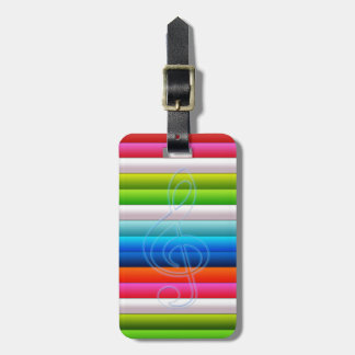 cool colourful stripes with a music note luggage tag