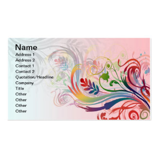 Cool colourful summer colours swirls flowers business card template