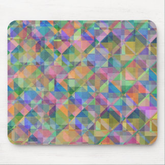 Cool colourful  triangles squares shapes overlaid mouse pad