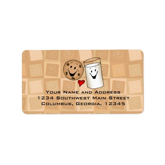 Cool Cookies and Milk Friends Cartoon Address Labe