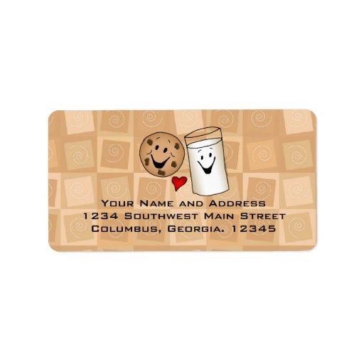 Cool Cookies and Milk Friends Cartoon Address Labe Personalized Address Labels