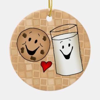 Cool Cookies and Milk Friends Cartoon Ceramic Ornament