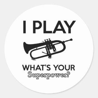 cool cornet design classic round sticker