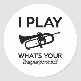 cool cornet design round sticker