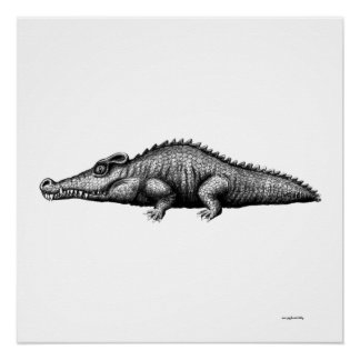 Cool crocodile ink pen drawing art perfect poster