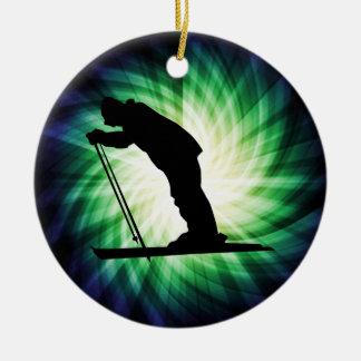 Cool Cross Country Snow Ski Round Ceramic Ornament