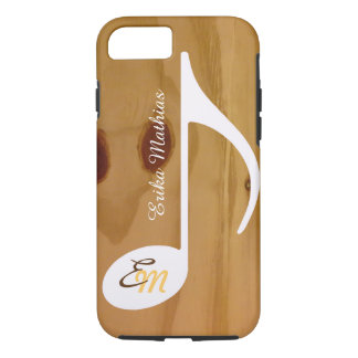 cool custom musical note on wood, rustic iPhone 8/7 case