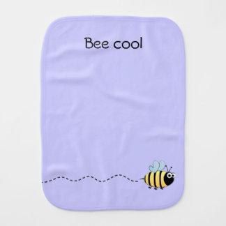 Cool cute bee cartoon pun purple baby baby burp cloths