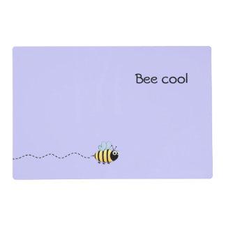 Cool cute bee cartoon pun purple laminated place mat