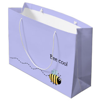 Cool cute bee cartoon pun purple large gift bag