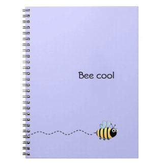 Cool cute bee cartoon pun purple notebook