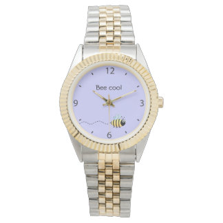 Cool cute bee cartoon pun purple watch