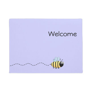 Cool cute bee cartoon purple doormat