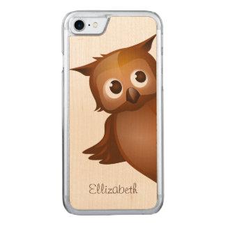 Cool Cute Custom Name Funny Cartoon Owl Monogram Carved iPhone 8/7 Case